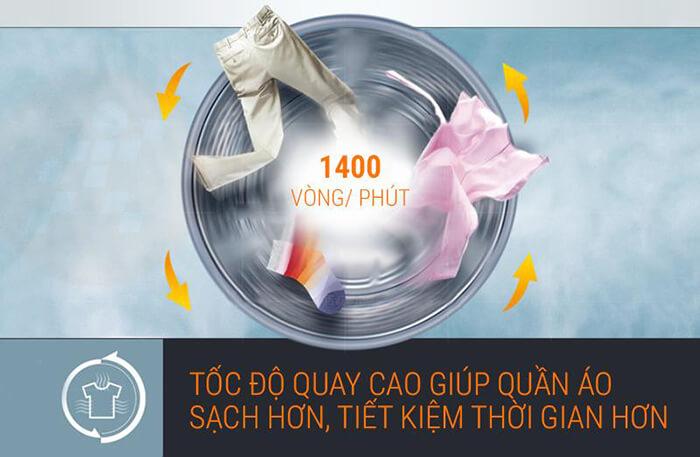 Máy giặt LG 9 kg lồng ngang inverter FC1409S2E tốc độ quay