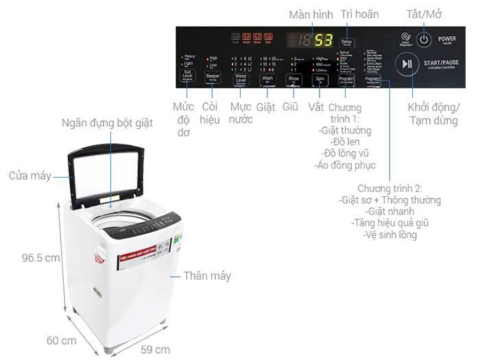 Máy giặt LG Inverter 8.5 kg T2385VS2W kích thước