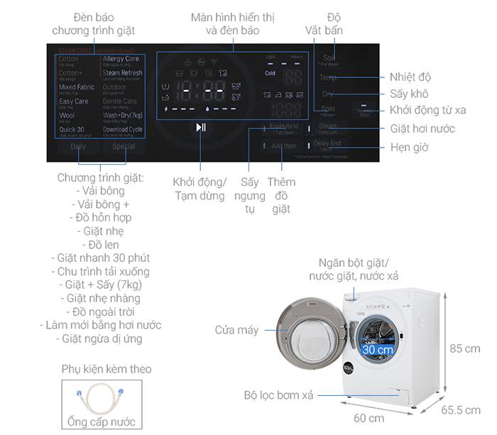 Máy giặt LG Inverter 10.5 kg FG1405H3W1 kích thước