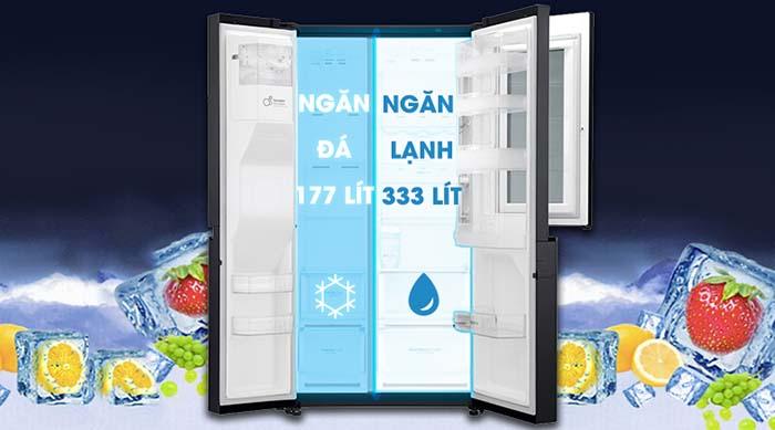 Tủ lạnh LG 601 lít inverter GR-X247MC dung tích lớn