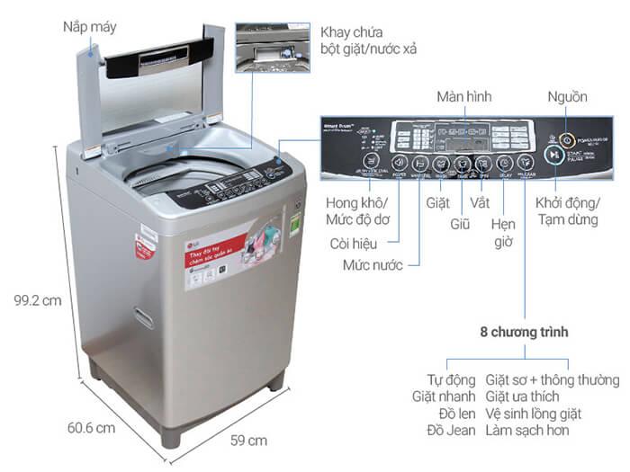Máy giặt LG 11kg lồng đứng WF-D1117DD cấu tạo