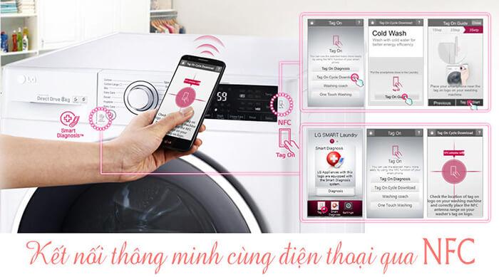 Máy giặt sấy LG 14 kg F2514DTGW - màu trắng thông minh